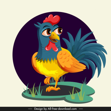 hen painting colorful cute cartoon design