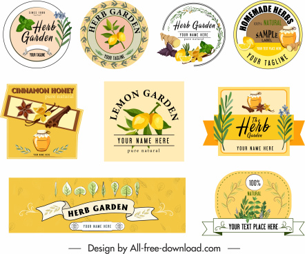 herb advertising elements classical labels card banner design