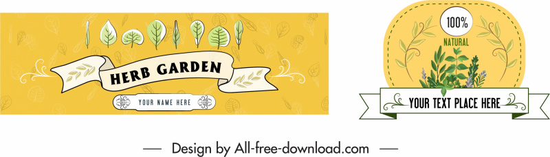 herb advertising labels background colored classical decor