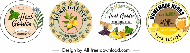 herb labels templates colorful circle shape classic decor