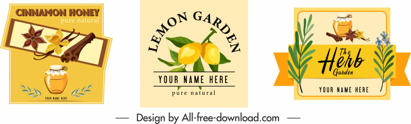 herb products advertising colorful classic symbols decor
