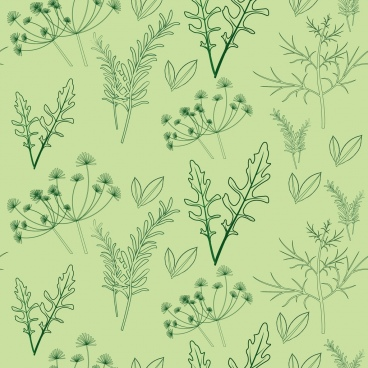 herbal background various green icons repeating design