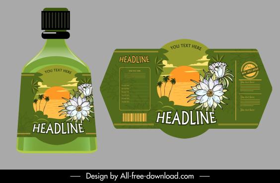 herbal beverage label template elegant flora sea scene