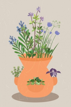 herbal flowers background pot icon colorful design