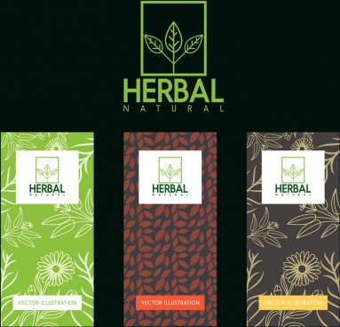 herbal leaflet cover sets multicolored leaves decoration