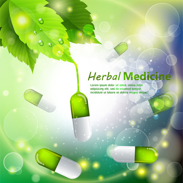 herbal medicine template design with capsules on bokeh background