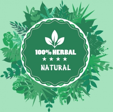 herbal product badge template green circle leaves decor