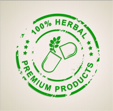 herbal product stamps green circle design capsule icon