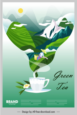 herbal tea advertising poster cup mountain scene sketch