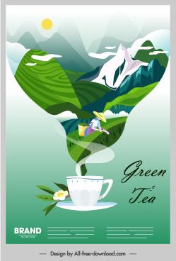 herbal tea advertising poster cup mountain scene sketch