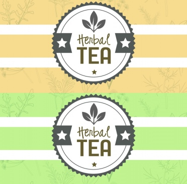 herbal tea stamp template flat serrated round design