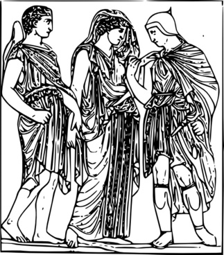 Hermes Orpheus And Eurydice clip art
