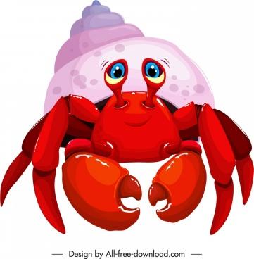 hermit crab icon colored cartoon design