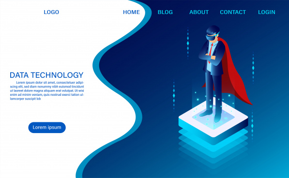 hero businessman is standing wearing goggle vr on the luminous button concept it technology web header template flat isometric vector illustration