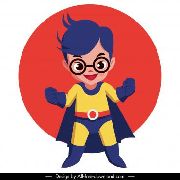 hero kid icon superman costume cute cartoon character