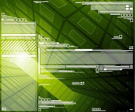 hi tech design green background vector