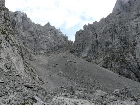 high angle mountains scree