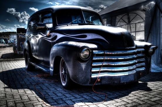 high dynamic range photo of an old american car