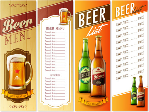 high quality beer menu list vector