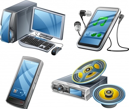 digital devices icons modern 3d sketch