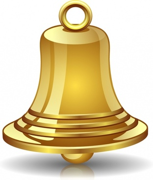 golden bell icon modern shiny 3d sketch