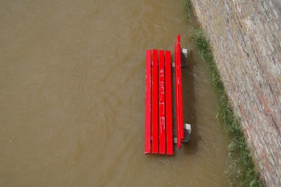 high water flooding park bench