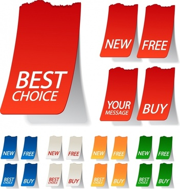 sale stickers templates modern 3d sketch colored design