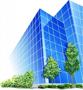 building exterior template modern colored 3d sketch