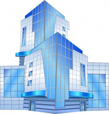 highrise building icon modern colored 3d sketch