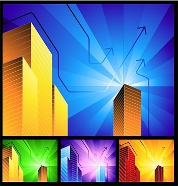highrise buildings with simple background radiation vector