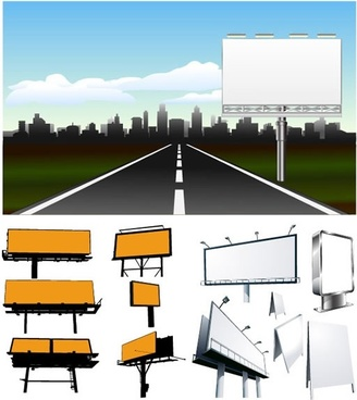 advertising signboard templates 3d sketch city scene decor