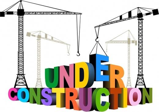 construction banner cranes 3d texts decor