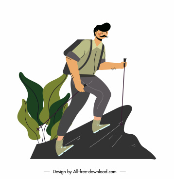 hiking icon man climbing mountain sketch