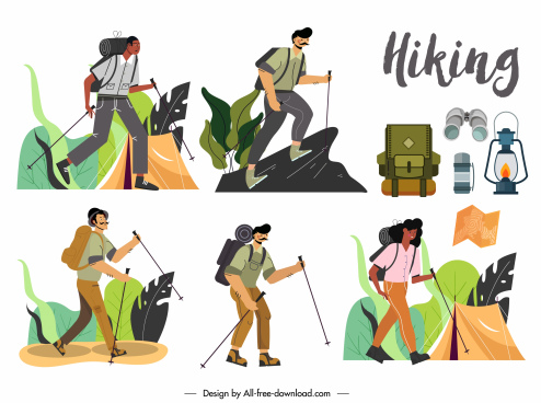 hiking icons classic design cartoon characters sketch
