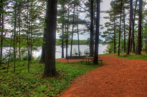 hiking path to the picnic path at council grounds state park wisconsin