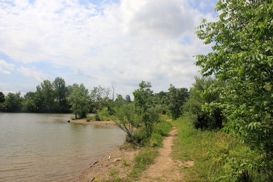hiking trail by lake at alum creek state park state park ohio
