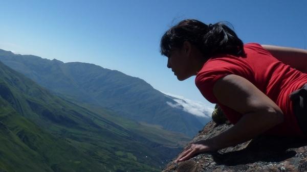 hiking trekking blue sky