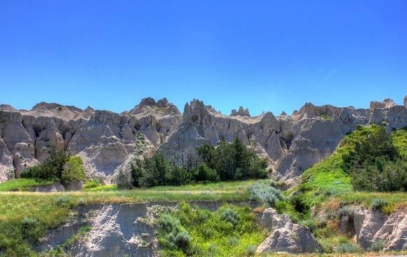 hills by the roadside at badlands national park south dakota