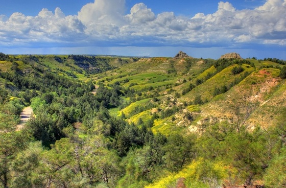 hills landscape overlook at theodore roosevelt national park north dakota
