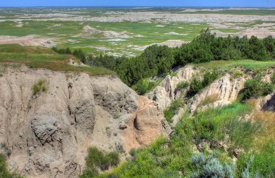 hilltops with trees at badlands national park south dakota