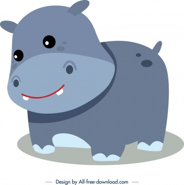 hippo animal icon cute cartoon character sketch