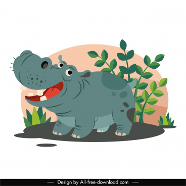 hippo animal icon funny cartoon character sketch