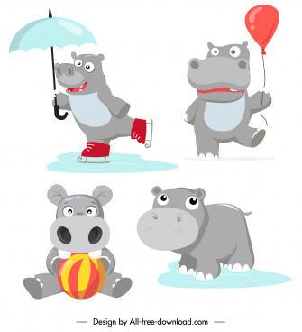 hippo characters icons funny stylized sketch