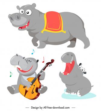 hippo icons cute cartoon sketch stylized design