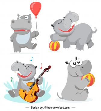 hippo icons cute stylized cartoon sketch joyful activities