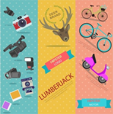 hipster concept illustration with various vertical color banners