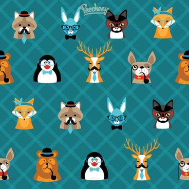 hipster seamless wallpaper with cute animals