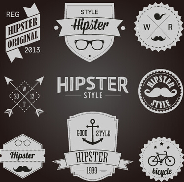 hipster style badges and labels vector graphics