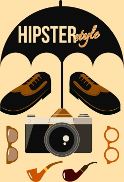 hipster style design elements classical personal accessories icons