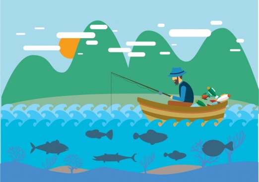 hobby concept design man fishing on boat drawing